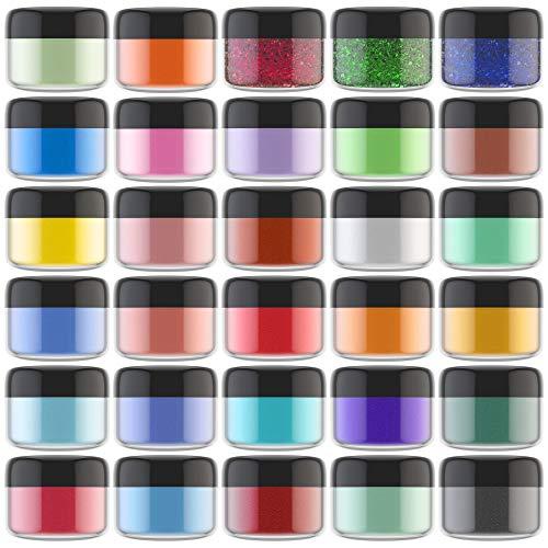Pigmentos en Polvo de Mica - 30 Colores x 5g Colorante de Jabón Metálica - Colorante de Resina Epoxi Polvo Brillo Natural para Epoxy Resin, Jabones DIY, Bombas de Baño, Pintura, Uñas, Cosmético