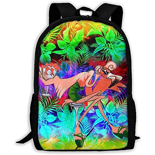 Casual School Bag Sexy Red Flamingo Lady con Vestido Verde Mochila Women3D Print Daypacks para Hombres
