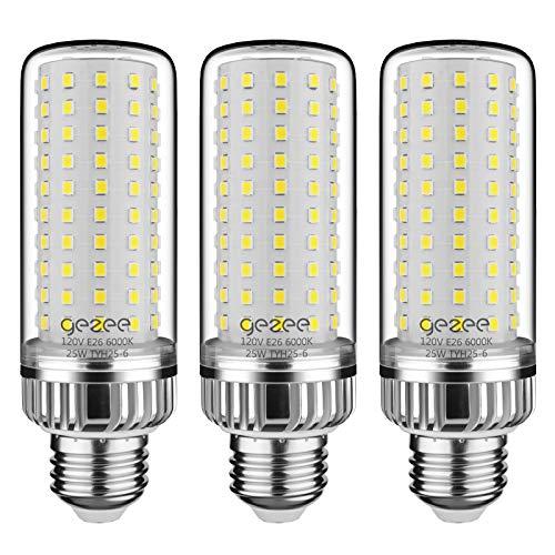 GEZEE 25W LED Corn Light Bulb, 200 Watt Equivalent, E26 LED Lamp 2500 Lumens 6000K Daylight-White,Non-Dimmable,for Ceiling Fan,Flicker Free(Pack of 3)