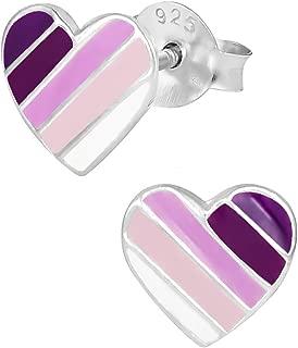 Hypoallergenic Sterling Silver Purple Striped Heart Stud Earrings for Kids (Nickel Free)