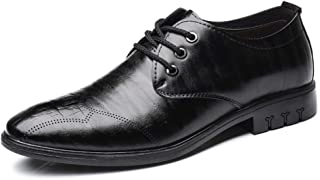 2019 Mens New Lace-up Flats Men's Formal Oxford Shoes, Lace Up Style Microfiber Leather Leisure Business Simple Pure Color