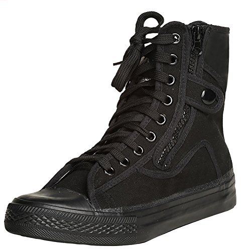 Odema Mens Canvas Shoes Hightop Sneakers Flat Ankle Boot Lace Up Shoes Black