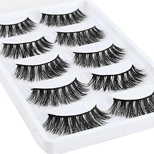 lzndeal 5 Pair/Box Faux cils Natural fait a la Main Extension Haute qualité pour Maquillage des yeux