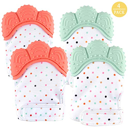 NEPAK Teething Mittens 2 Pairs Baby Glove Stimulating Teether Toys for Boys Girls,Teething Glove for 0-6 Months Baby (Coral and Mint Colours)