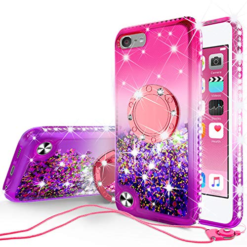 SOGA Rhinestone Liquid Float Quicksand Cover Cute Girl Phone Case Compatible for iPod Touch 5/iPod Touch 6 Case, with Embedded Metal Diamond Ring for Magnetic Car Mounts and Lanyard - Pink on Purple