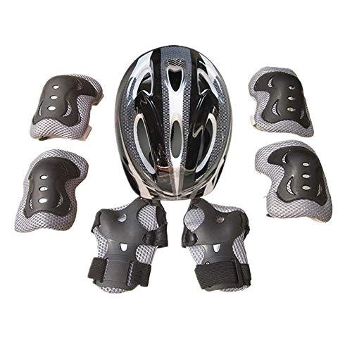 Adjustable Protective Knee Pads Set,Kids Bicycle Protective Gear Set 3 In 1 Adjustable Protective Gear Set for Multi Sports Skateboarding Inline Bicycle Ski Roller Skating Cycling etc(7pcs) (Black)