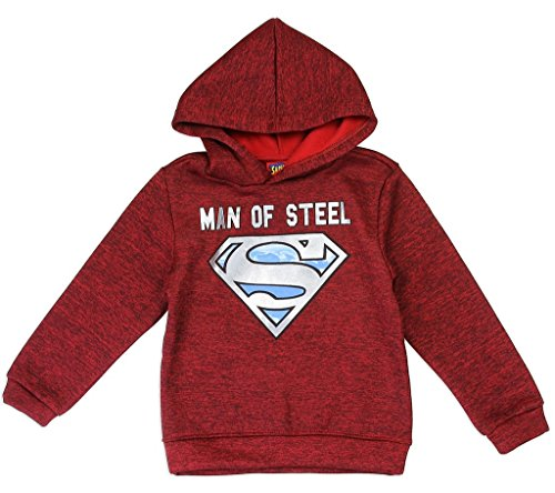 DC Comics Little Boys' Superman Logo Pullover Hoodie, Red (4T)