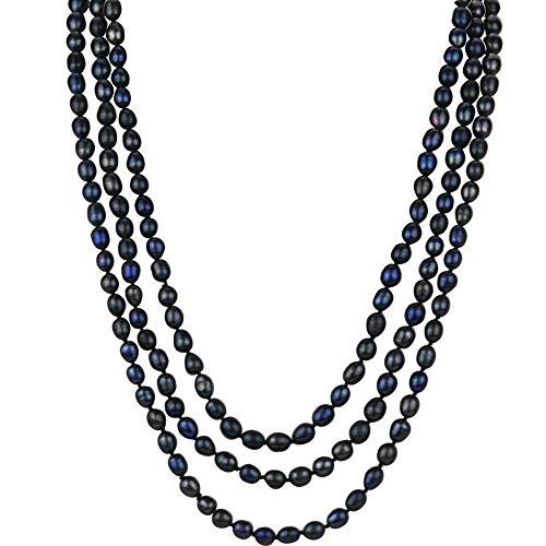 TreasureBay Collana Lunga 120cm di Perle d'Acqua Dolce Naturale Donna