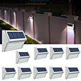 ROSHWEY Solar Deck Lights Outdoor, Waterproof Step Lamps Stainless Steel Bright 30 LED Walkway Security Lights for Garden Fence Patio Pathway (Cool White Light, 10 Pack)