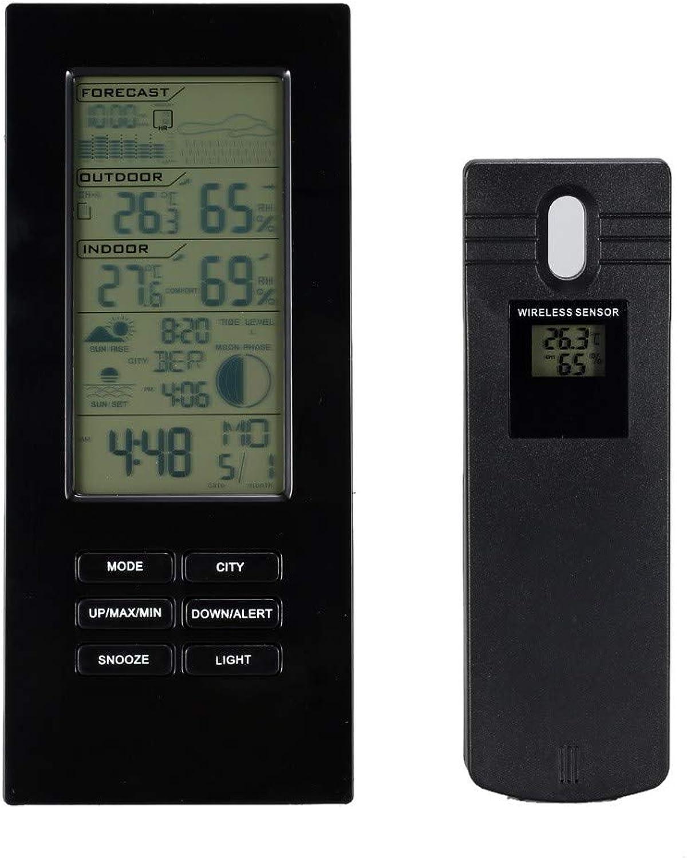 QIZIANG Funk-Digitalwetterstation-Prognose-Uhr-Kalender-Hygrometer-Thermometer Indoor Outdoor Hot B07Q7N91T2 | Niedrige Kosten