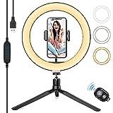 Aitsite LED Selfie Ringlicht mit Stativ, 360 ° Drehung 3 Farbe und 10 Helligkeitsstufen Tisch Ringleuchte mit Fernbedienung für Make up Tiktok YouTube Live Streaming Videoaufzeichnung und Foto