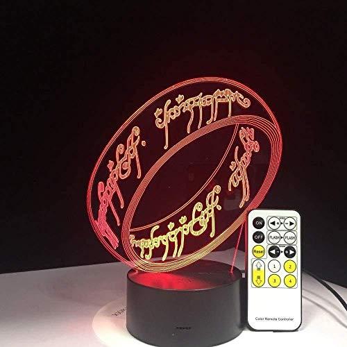 3D diashow van de heer van de ringen 3D lamp 7 kleuren cadeau voor kinderen touch nachtlampje voor kinderen vakantie 3D illusie bureaulamp film Memory Present