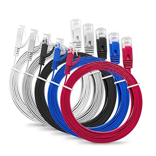 """Multicavo Slim Flat 1m Cat6 RJ45 Cavo Patch Rete Ethernet LAN - Confezione da 5"""" Multi Colore - 1 Metro + 15 Fascette"""