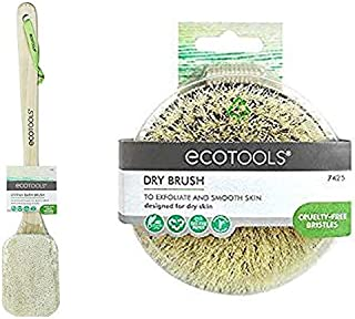 Dry Skin Aid by ecotools Exfoliating Loofah Sponge Brush w/Long Bamboo Handle for Body Bath or Shower Set