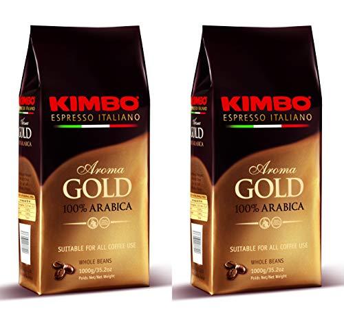 Kimbo ganze Kaffeebohnen Set mit 2 x Gold 100% Arabica - zwei 1kg Beutel