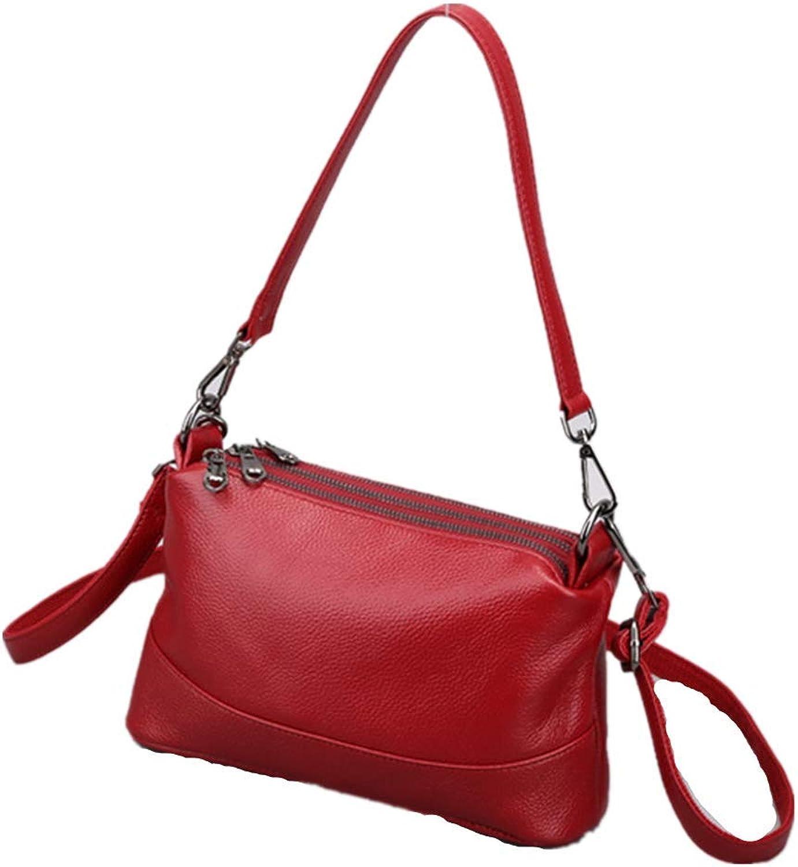 M Z X B Women's Leather Shoulder Bag Zipper Leather Large-Capacity Shoulder Bag Wallet 3-Layer Zip Leather Bag