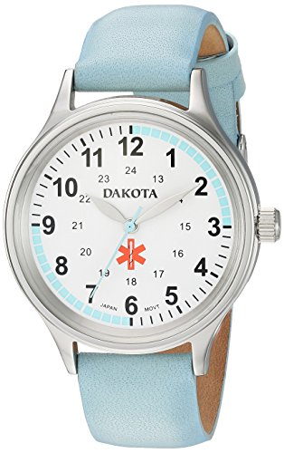 Dakota Nurse Women's Watch 36mm Military Dial Water Resistant with Light Blue Leather Strap,...