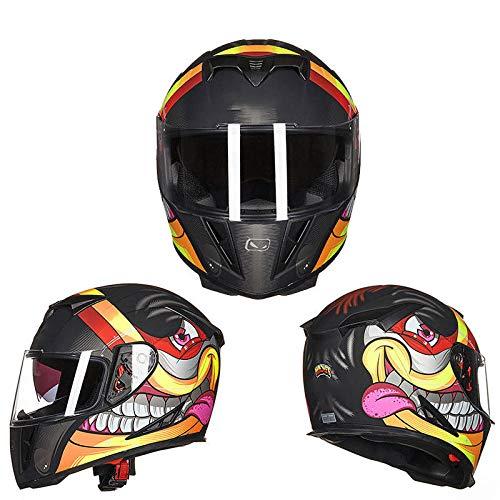 Motorhelm volledige dekking locomotief volledige helm lente en zomer anti-condens dubbele lens mountainbike helm-M_Matte zwarte graffiti (anti-condens lens)