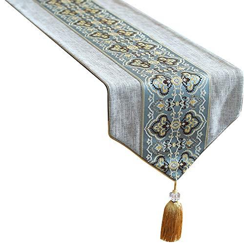 MEI XU Chemins de table - Table de salle à manger Table Bunting Nouveau coton chinois zen et cérémonie du thé en tissu Décoration de bureau (Couleur : A, taille : 35x200cm)