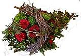 """Grabgesteck   TRAUERGESTECK kaufen MIT FRISCHEN BLUMEN   Füllhorn rot  """"Liebesvolles Blütenmeer"""" Größe 90 Euro"""