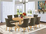9Pc Dining Set Includes an Oval Dining Table with Butterfly Leaf and Eight Parson Chairs with Dark Gotham Grey Fabric, Oak Finish