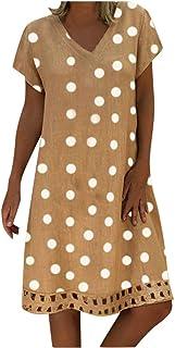 Women Summer Mini Dress, Ladies Dot Printed Short Sleeve Loose Casual Dress