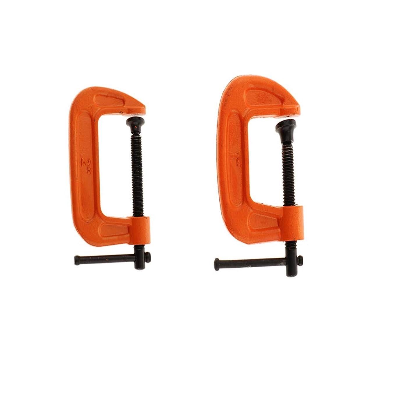 ドラムヘッジ副Cクランプ 深型 クランプ 調節可能ツール 2個(1インチ+2インチ)
