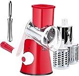 Cakunmik Rallador de Tambor Redondo Vegetal, trituradora cortadora Multifuncional, trituradora de Limpieza fácil para Cocina con 3 Cuchillas de Acero Inoxidable Redondo
