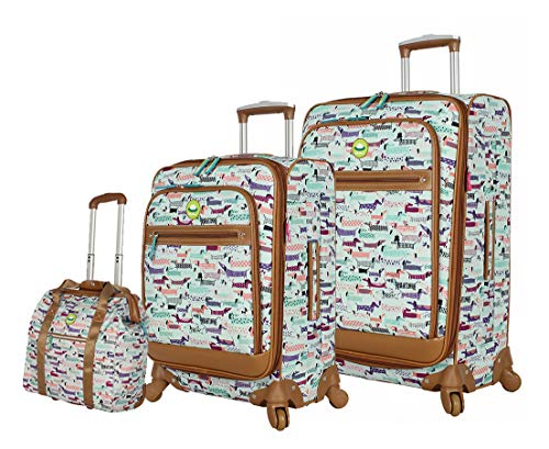 Lily Bloom Luggage 3 Piece Softside Spinner Suitcase Set Collection (Totally Paw Some)