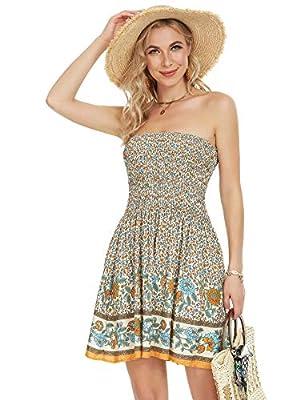 Angelegant Tube Top Dress Women Sexy Strapless Mini Dress Sleeveless Summer Dresses
