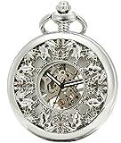 sewor fashion style smooth face shell quadrante orologio da tasca al quarzo giapponese con doppia catena (metal & leather) (argento)