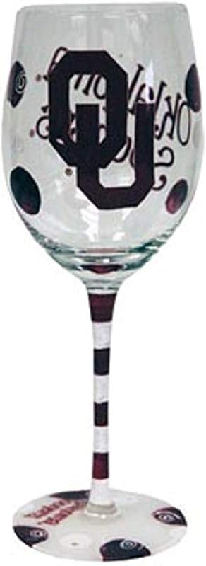 Oklahoma Sooners Crimson And White Hand Painted Wine Glass
