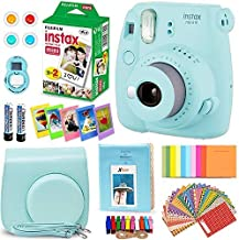 FujiFilm Instax Mini 9 Instant Camera ICE Blue + Fuji INSTAX Film (20 Sheets) + Custom Camera Case + Instax Album + 60 Colorful Stickers + 20 Emoji Stickers + Fun Frames + 4 Colored Filters + More