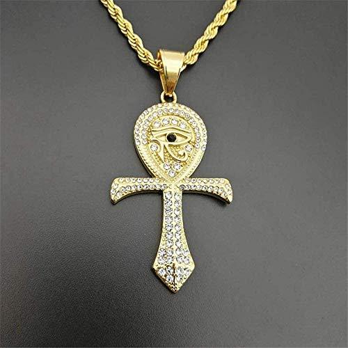 BACKZY MXJP Collar con Colgante De Cruz De Ankh Egipcio para Mujeres/Hombres, Collar De Ojo De Horus De Acero Inoxidable De Color Dorado, Joyería Egipcia Helada