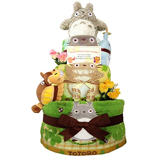 おむつケーキ [ 男の子 : 女の子/となりのトトロ : ジブリ / 3段 ] パンパース M33枚 (1歳 の 誕生日プレゼント に Mサイズ)4001 ダイパーケーキ 赤ちゃん ベビーシャワー ギフト