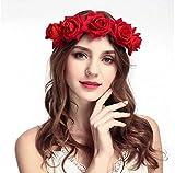 Tweal Rose Fleur Bandeau Couronne,Bandeau Cheveux Femme Mariage,Bandeau Cheveux Fille pour Fête Mariage Voyage