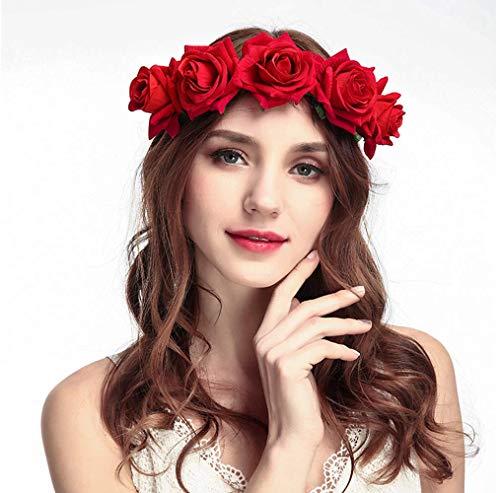 Tweal Diademas de Flores,Diademas de Flores Rosas Cinta Elástica Vend