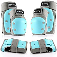 Purpol Kids Youth Adult Knee Pads Elbow Pads Wrist Guards 3 in 1 Protective Gear Set for Multi Sports Skateboarding Inline Roller Skating Cycling Biking BMX Bicycle Scooter (Blue, Large)