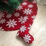 DecroXmas Medias de Navidad Rojas, Paquete de 2, 56 cm, Calcetín de Copo de Nieve Blanco, Utilizado para Decoración Colgante de Chimenea Navideña
