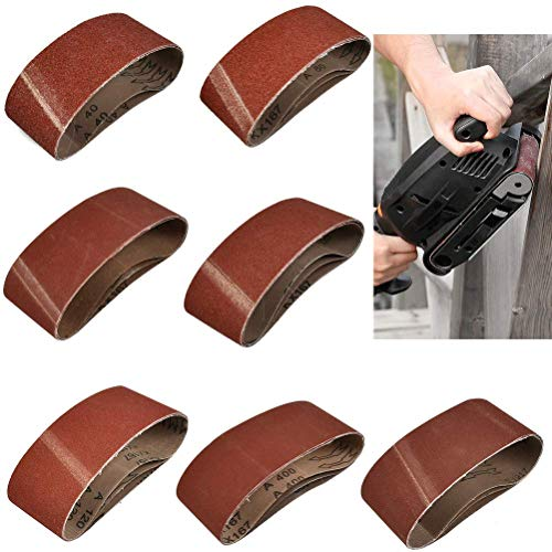 OFNMY 20 Piezas Cinturones de Lijado de Tela Mixpack para Amoladoras de Cinta,Papel de Lija,Juego de Correas de Lijado de Grano 40/60/80/120/150/240/400 (75 x 457 mm)