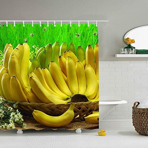 Leona Chesterton Badezimmer Duschvorhang Bananenkorb Obst Duschvorhänge mit 12 Haken, strapazierfähiger wasserdichter Stoff Fenstervorhang
