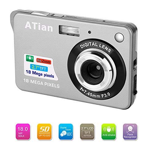 ATian Compactas Cámaras Digitales 2.7 Pulgadas LCD 8X Zoom Digital Anti-vibración Recargable HD Cámara Digital para Estudiantes Adultos Mayores niños (Plateado)