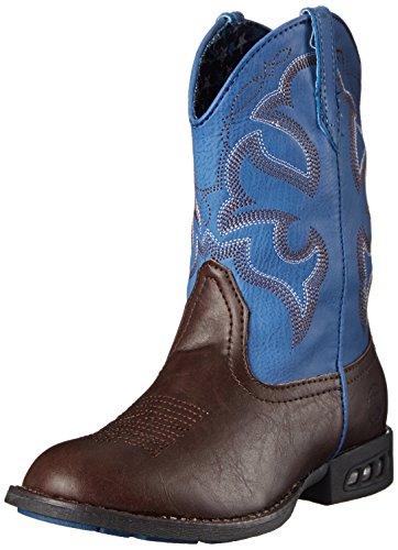 Roper Lightning R Toe Light Up Cowboy Boot (Toddler/Little Kid), Brown, 12 M US Little Kid