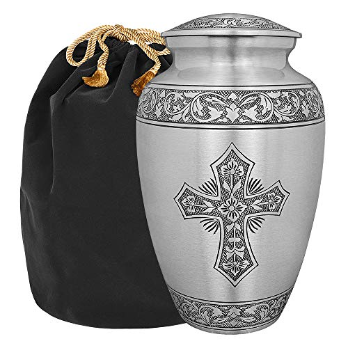 Grace and Mercy Pewter Cross Adult Cremation Urn