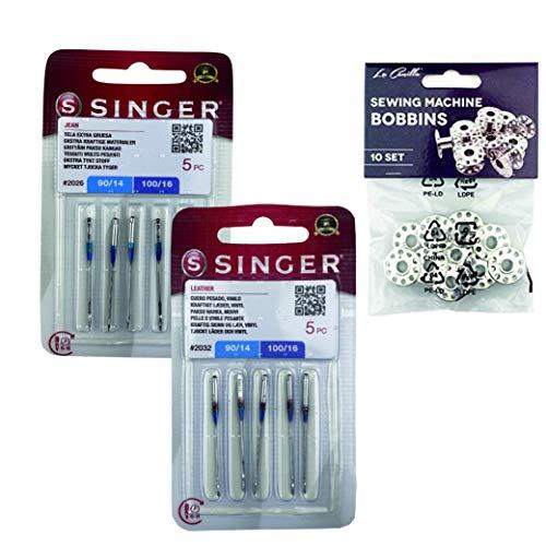 Singer Pack de 2 Paquetes de Agujas Universales para coser Tejanos y Cuero 2026, y 2032 Sistema 130/705 H (Plano de un Lado) H-J y H-LL + Canillas Metálicas