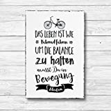 Das Leben ist wie Fahrrad fahren - Dekoschild Wandschild