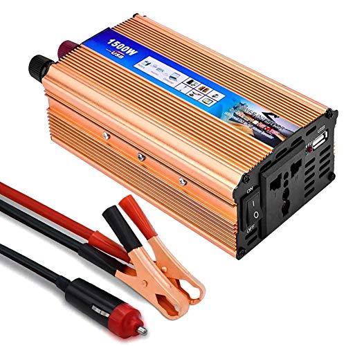 Lacyie Spannungswandler 12V 230V 650W 1500W(Max), Auto Wechselrichter DC 12V auf AC 230V Reiner Sinus KFZ Inverter mit 1 EU Buchse AC und 1 USB Port 2.1A für Zigarettenanzünder Steckdose