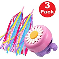 √ 1 Pack kids bicycle bells Pink & Purple sun flower bells with 1 pair (2PCS) children's bicycle streamer. A simple and interesting way for kids to dress up their bikes. √ The Kids bike bells put out a loud and clear bike ringtone to be heard clearly...
