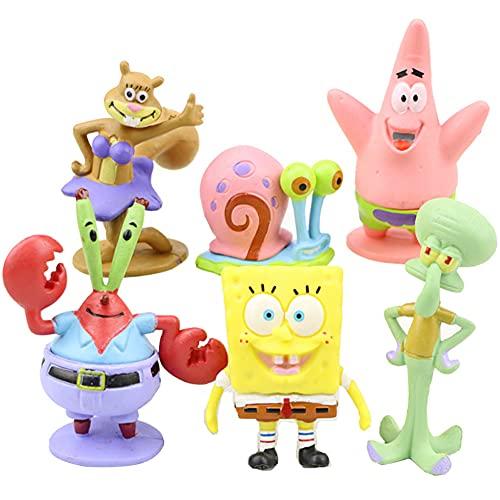 Mini Juego De Figuras, 6 Pcs/Set Dibujos Animados Bob Esponja, Caricatura Cake Topper Niños Mini Baby Shower Fiesta De Cumpleaños Pastel Decoración Suministros