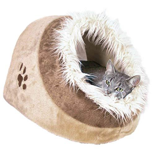 Trixie Cueva para Gatos Suave - Cama Gatos Accesorios para Gatos Casas para Gatos Gatera Minou, 41x30x50 cm, Beige/Marrón